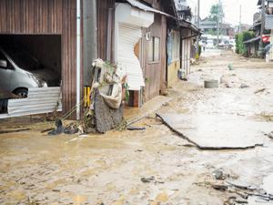 大雨 台風被害の後 工事