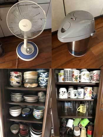 日用品 扇風機 ポット 茶碗 コップ